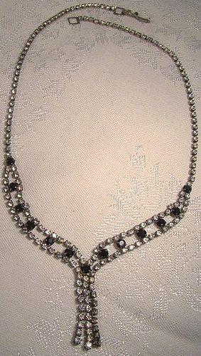 Black & White Rhinestone Dangly Tassel Sautoir Style Necklace 1950s