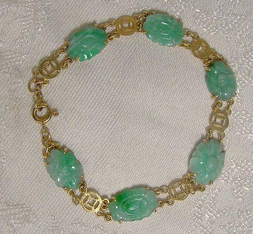 18K Carved Jade Jadeite Bracelet 1920s Vintage Jadite