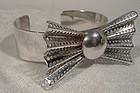 Ultramodern Bow Tie 925 Sterling Cuff Bangle Bracelet 1970s
