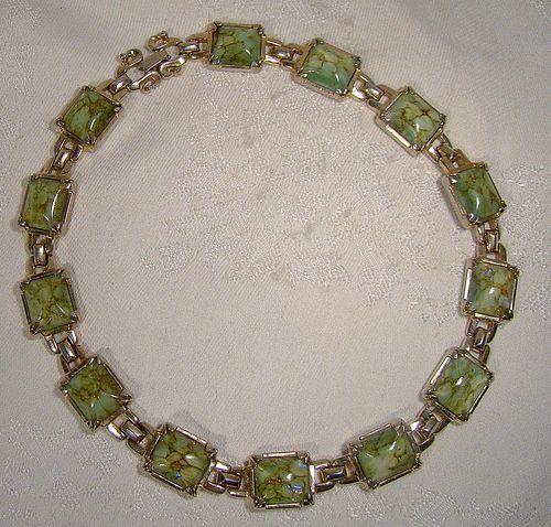 Sherman Green Opalescent Blue Art Glass GP Necklace 1950s - Unusual