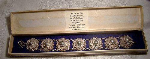 Siam Sterling Silver Filigree Bracelet in Original Box 1950s