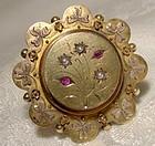 15K Rubies Seed Pearls Shamrocks Memento Pin Brooch 1875