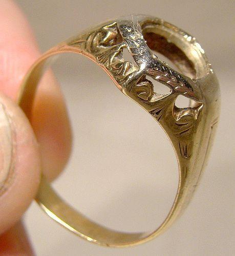 Man's Art Deco 14K Yellow & White Gold Ring Setting 1920s 14 K