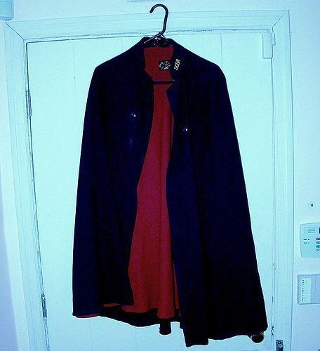 World War II Nurse's Cloak or Cape - Black with Red 1940s