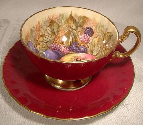 Aynsley D. Jones Burgundy Red Fruit Tea Cup and Saucer 1950s