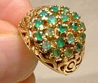 14K Hill of Emeralds Statement Ring 1960s - Size 3-1/4