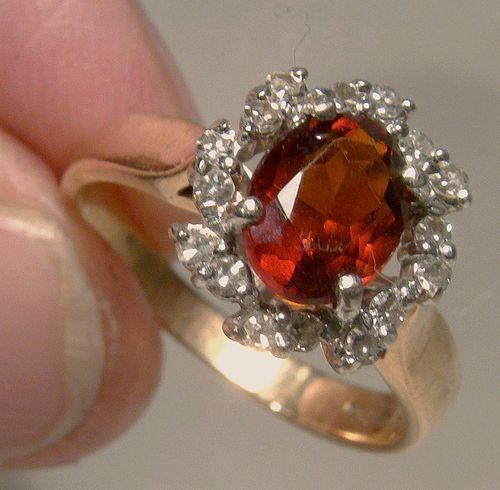 14K Red/Orange Citrine & 16 Diamonds Ring Oval Red Citrene Size 6-1/2