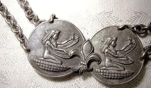 Egyptian Art Deco Flapper Silver Plated Belt 1920s