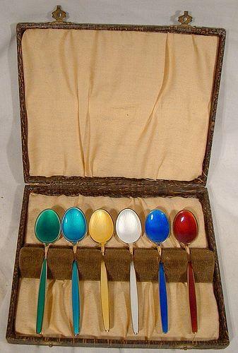 Set of 6 David Andersen Norway Enamel Demitasse Coffee Spoons with Box