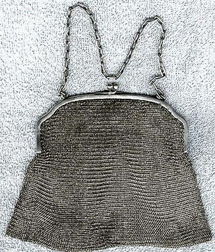 Edwardian Sterling Silver Mesh Purse Handbag 1900 1910 Antique Chain