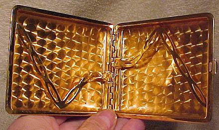 Enamel Cigarette Case with Mottled Amber Decoration 1930s Art Deco