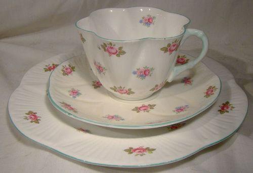 Shelley Rosebud 13426 Trio - Cup, Saucer, Salad Plate