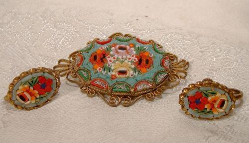 Italian Mosaic Pin Brooch and Screw Back Earrings 1930s-40s
