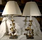 Pair Gilt Brass Roses Metalwork Table Lamps with Marble Bases 1930s