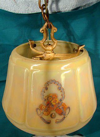Art Deco Lightolier Luster Czech Glass Shade Ceiling Lamp 1920s