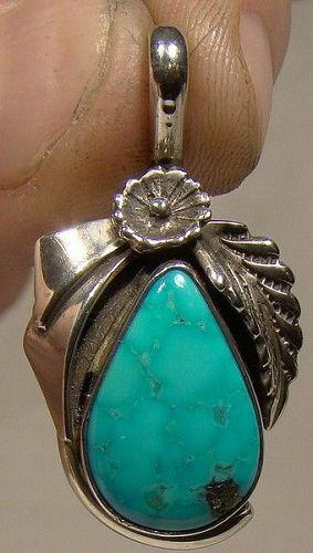 Les Baker Sterling & Blue Gem Turquoise Southwest Pendant