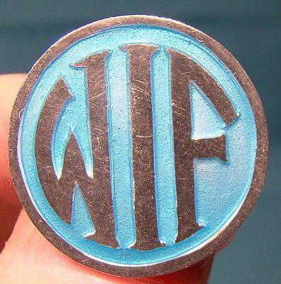 Blue Enamel Sterling Silver WIF Initials Pin Brooch 1910 1920
