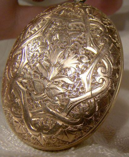 Hand Engraved Rose Gold Filled Large Photo Locket 1880s