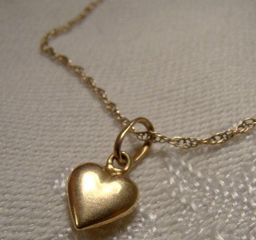 18K Yellow Gold Heart Pendant on 10K Rope Twist Chain Bracelet 1970s