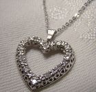 14K White Gold Heart with Diamonds Pendant on Chain Necklace