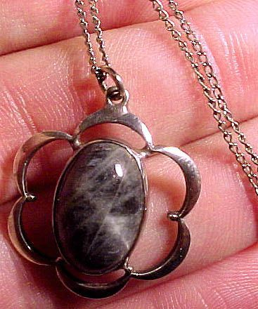 Labradorite Sterling Silver Pendant on Chain Necklace 1950s