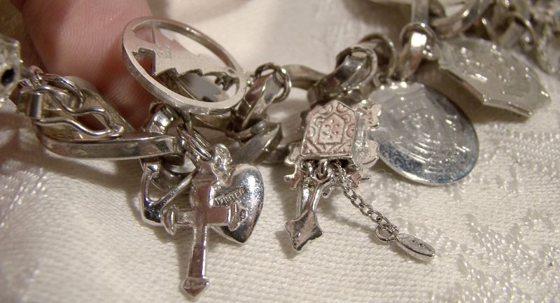 Huge Chain Link 800 Silver and Sterling Charm Bracelet with 15 Charms