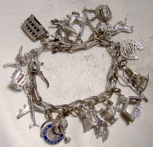 Textured Folded Link Sterling Silver Charm Bracelet with 17 Charms