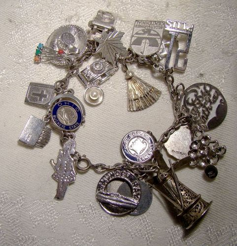 Chain Link Sterling Silver Charm Bracelet With 20 Charms 1960s
