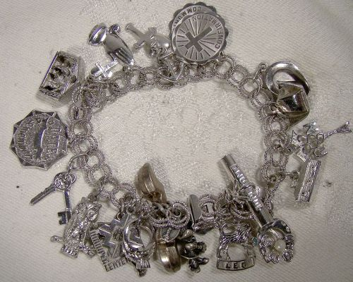Double Textured Links Sterling Silver Charm Bracelet with 22 Charms