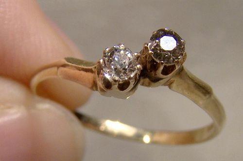 14K Twin Antique Cut Diamonds Ring Pre 1920 - Size 7