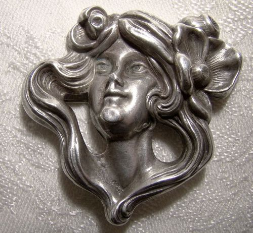 Art Nouveau Sterling Silver LADY with POPPY Brooch Pin 1900 -Authentic