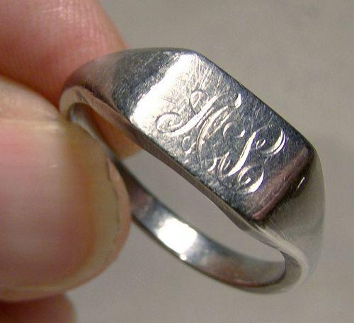 14K White Gold Signet Ring 1950s - Size 8-1/2