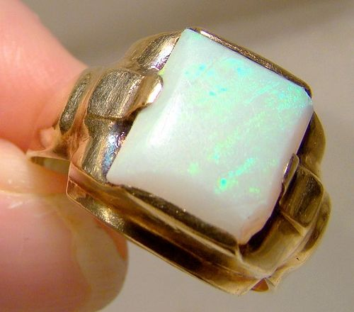 10K Yellow Gold Man's Opal Ring 1940s
