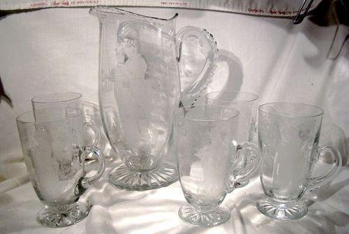 Fry Geisha Etched Glass Lemonade Pitcher plus 5 Handled Tumblers