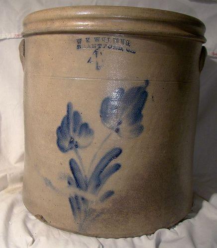W. E. Welding Brantford Ontario 4 Gallon Eared Stoneware Crock