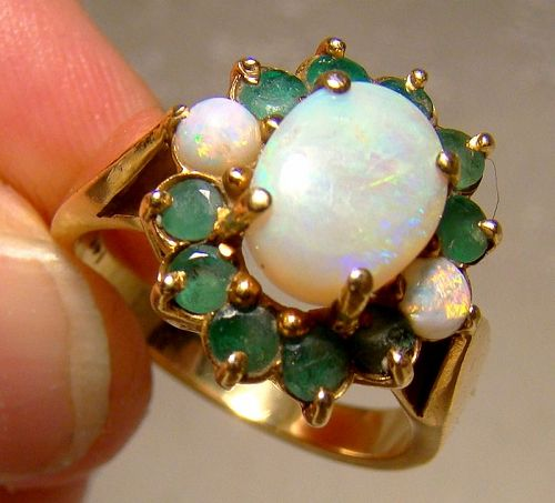 14K Yellow Gold Opals and Emeralds Ring 1970s - Size 7