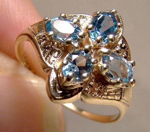 10K Yellow Gold Edwardian Blue 4 Topaz Ring 1900 1910 Size 5-1/2