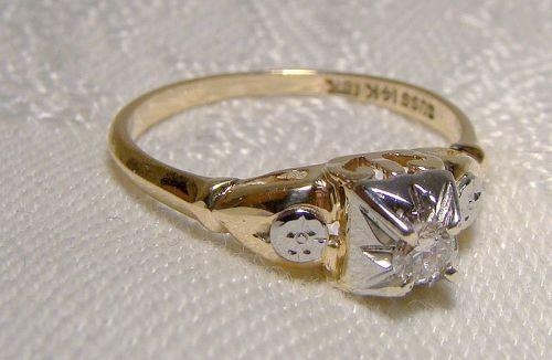 14K & 18K Art Deco Diamond Ring 1920s-30s - Size 6-1/4