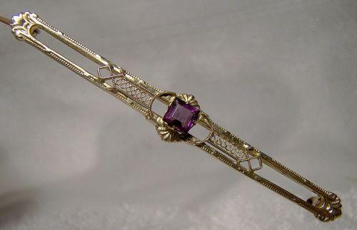 14K Yellow Gold Purple Tourmaline Wirework Bar Pin Brooch 1915-20