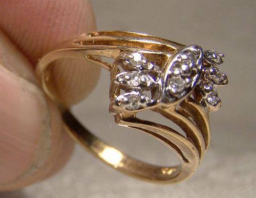 10K Yellow Gold Diamonds Ring 1960s-70s - Size 5-3/4
