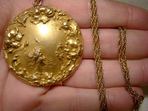 Ornate Art Nouveau Gold Filled Photo Locket on Chain Necklace