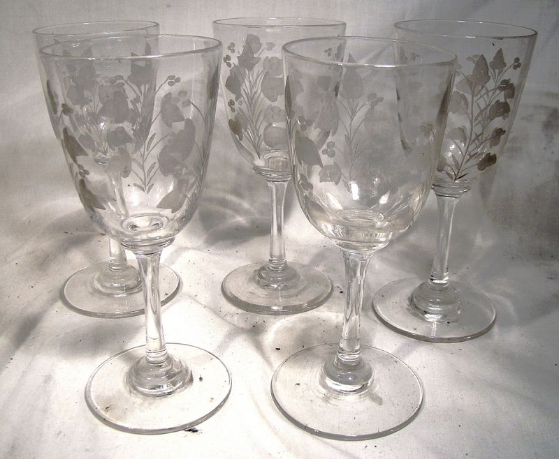 5 Victorian Hand Etched Cordial Liquer or Wine Glasses