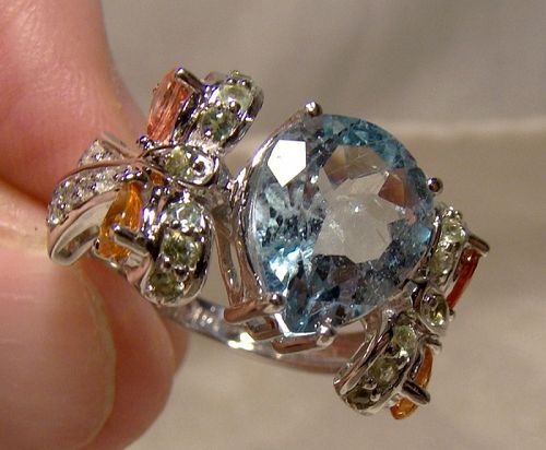14k White Gold Aquamarine, Topaz and Diamonds Ring 1990s - Size 7-1/4