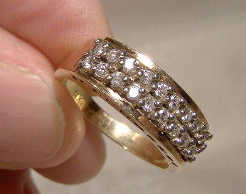 14K Yellow Gold Double Row Diamonds Ring 1960s - Size 6-1/4