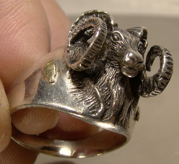 Custom Bighorn Sheep Ram Sterling Silver and Gold Nuggets Ring 1970s