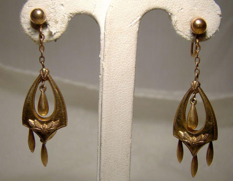 Victorian Rolled Gold Plate Dangle Drop Earrings 1890s