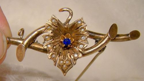 Victorian 14K Gold Synthetic Sapphire Seed Pearls Leaf Pin Brooch 1880