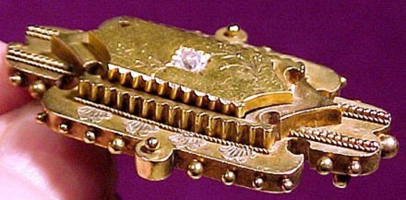VICTORIAN 15K DIAMOND HAIR BROOCH 1870
