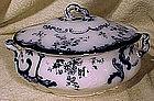 Ridgways CHISWICK FLOW BLUE SAUCE TUREEN 1894