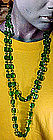 GREEN MOLDED CRYSTAL FLAPPER NECKLACE c1920s